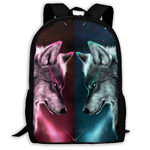 SARA NELL Fire And Ice Wolf In Galaxy School Backpacks Waterproof School Bags Durable Travel Camping Backpacks For Boys And Girls