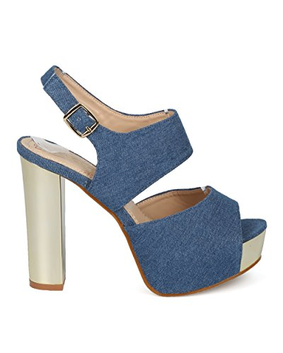 Sandal by Denim Sandal Metallic Toe Chunky Alrisco Metallic Heel Heel Heel HD28 Blue Women DbDk Slingback Block Collection Peep Platform xOHCHIZqw
