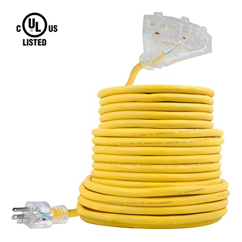 Ul Extension Cord 3 Outlet (TerraBloom 50 FT 12/3 Yellow Extension Cord With Lighted Triple Tap Outlets. Extra Flexible SJEOW TPE 125 Volts 1875 Watts Power Cord. All-Weather Heavy Duty For Outdoor, Garden and Major Appliances)