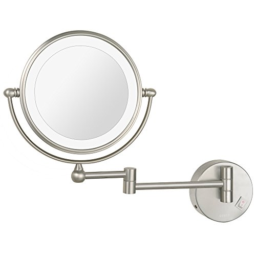 DOWRY LED Lighted Vanity Makeup Mirror Nickel Finish 8-Inch Double Sided Lighted 10X Magnification Wall Mount Mirror