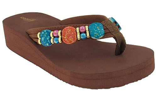 Capelli New York Faux leather thong with all over multi beaded trim Ladies Flip Flop Brown Combo 10