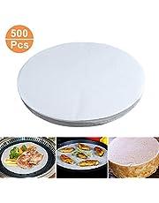 Ancdream 500 Stks Rond antiaanbakpapier - Bakpapier Liners voor het bakken van gebak koekjes gebak koken BBQ Round: 20cm / 8 inch Kleur: wit