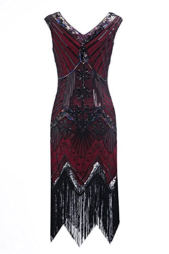 Clothin - Vestido de lentejuelas para mujer, años 20, diseño tipo Gatsby, cóctel, vestido de fiesta con flecos Q2-burgundy