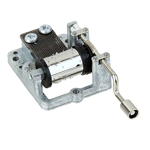 (18 Note Musical Mechanism Movement For DIY Music Box, Canon In D, Silvery Handcrank Music Movement)