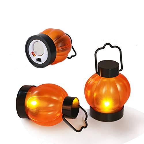 Halloween Decorations Pumkin Tealight Candles Battery Powered Flameless Candles Small Mini Plastic Jack O Hanging Lanterns for Thanksgiving Birthday Party Outdoor Decorations 6PCS