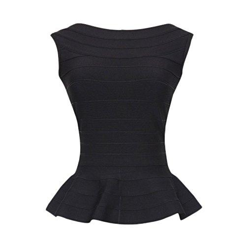 HLBandage Peplum Sleeveless Pure Color Bodycon Rayon Bandage Tank Top(S, Black) - Herve Leger Bandage Dress