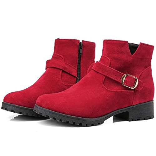 Zipper Red Comfort Ankle Boots Low COOLCEPT Flats Autumn With Women OS6zWqwW8