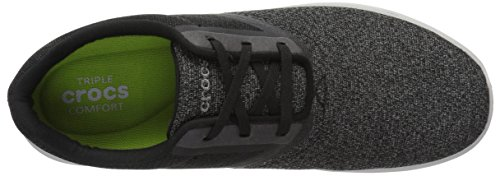 Crocs Mens Kinsale Statico Pizzo M Moda Sneaker Nero / Bianco Perla