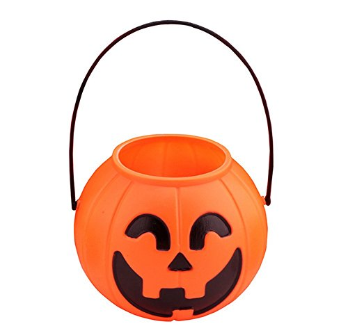 Ruikey 3pcs Mini Halloween Pumpkin Bucket Candy Basket Lanterns Decorative for Kids Outdoor