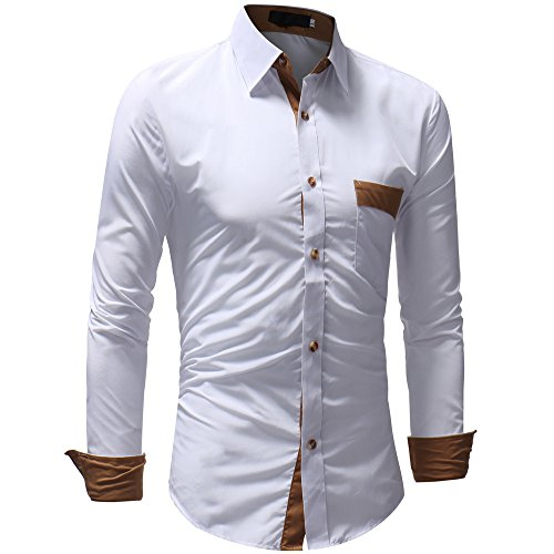 Men's Classic Pasato Long Sleeved Casual Pullover Pocket Top White Sale T Clearance Blouse shirt Patchwork wZq51qd