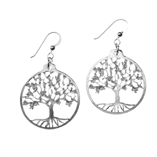 Delicate Tree of Life Silver-dipped Earrings on French Hooks ()