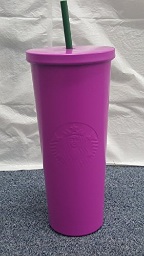 Starbucks New PINK/Lavender magenta 24 oz Stainless Steel Cold Cup Tumbler with green plastic (Stillness Tumbler)