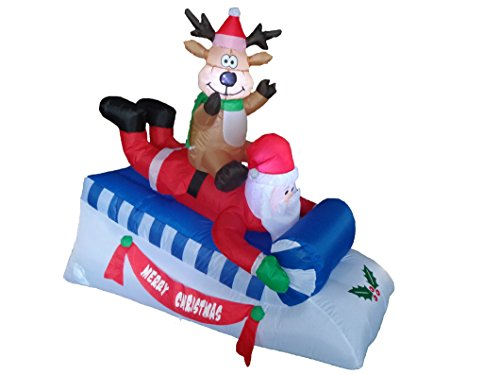 Rudolph And Clarice Costumes (5 Foot Long Lighted Christmas Inflatable Santa Claus Reindeer Indoor Outdoor Garden Yard Party Prop Decoration)