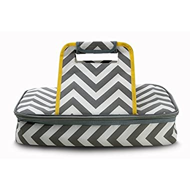 Casserole Carrier to Tote and Keep Your Best Food Dish Hot or Cold for Hours 100% Satisfaction Guaranteed - Premium Thermal Insulated in Stylish Grey Chevron Pattern by Domestic Diva LA