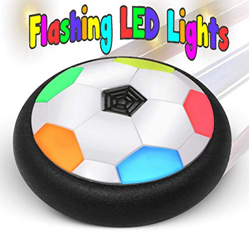 BamGo Hover Soccer Ball for Toddlers & Kids with Flashing Colored LED Lights – New Hovering Football Toy for Indoor | Battery Operated Air Floating Disk for Children (Girls & Boys) | w/ eBook ()