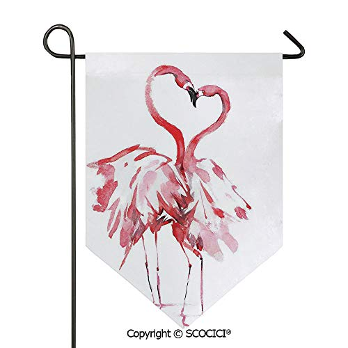 SCOCICI Easy Clean Durable Charming 28x40in Garden Flag Flamingo Couple Romance Passion Partners in Love Watercolor Effect Art Work,Pink White Double Sided Printed,Flag Pole NOT Included