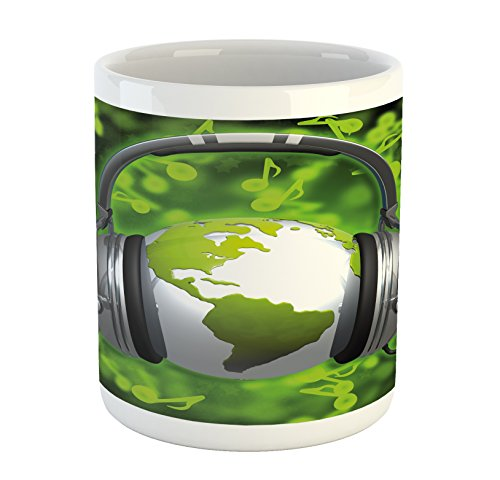 - Ambesonne World Mug, World of Music Themed Composition DJ Headphones Musical Notes and Earth Globe, Printed Ceramic Coffee Mug Water Tea Drinks Cup, Lime Green Grey