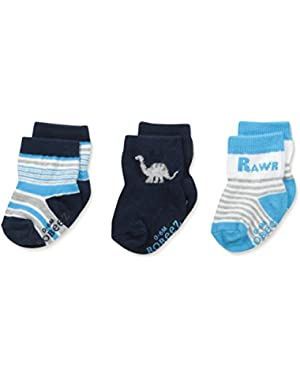 Big Boys' Rawr Socks-3 Pack