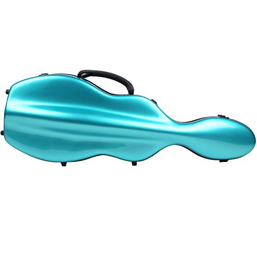 - String House SG300PG Fiberglass Violin Case Cello Shaped Teal Green and black Full Size 4/4