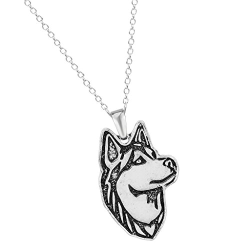 new yuan Handmade Siberian Husky Dog Puppy Pet Animal Necklaces Pendants Gift for Women and Girls Antique Silver