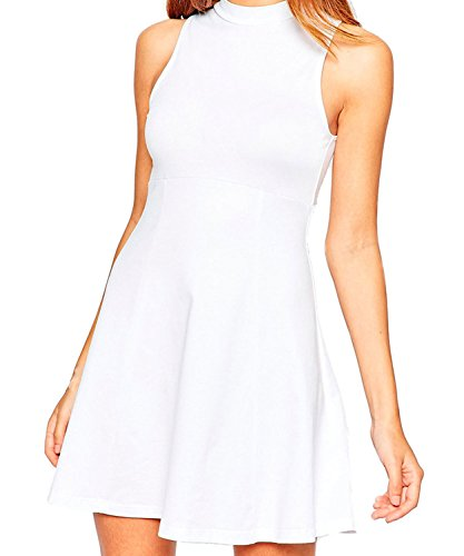 Face N Face Women's Chiffon High Neck Sleeveless Empire Mini Dress X-Large White