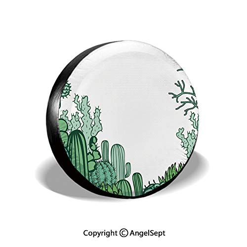 (Spare Tire Cover,Arizona Desert Themed Doodle Cactus Staghorn Buckhorn Ocotillo Decorative,Green Light Green Seafoam,for Jeep Trailer SUV RV and Many Vehicles,14)