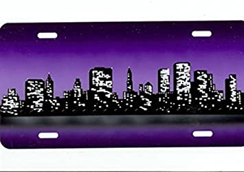 Personalized Airbrush City Scene License Plate Car Tag