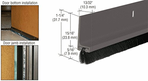 CRL Medium Bronze Painted Finned Door Sweep - 144'' by CR Laurence