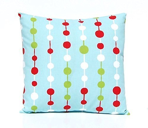 Festive Home Decor Christmas Pillow Cover 20 X 20 Modern Aqua And Red Beads