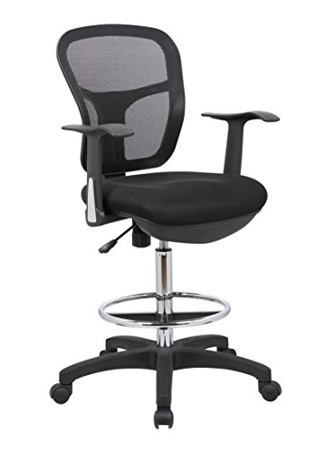 Deluxe Drafting Chair - Office Factor Drafting Chair with Foot Ring, Mesh Back Drafting Clerk Stool, Adjustable Height, Removable Arms Swivel Chair for Office and Home