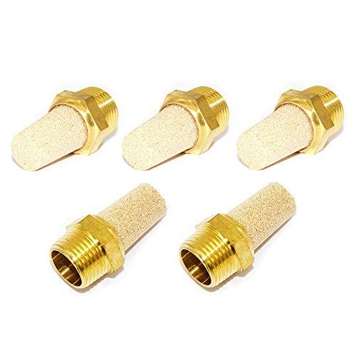 """Joyway 5Pcs 1/4""""NPT Male Exhaust Muffler Long Pneumatic Brass Flow Control Silencer Air Fitting"""