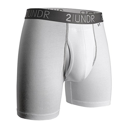 2UNDR Swing Shift (White/Grey) Boxer Brief Mens-Medium, White/Grey (Swing Mens)