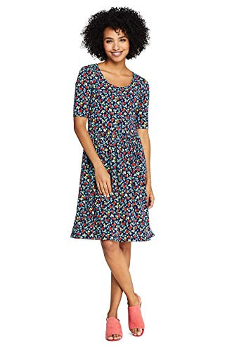 Lands' End Women's Elbow Sleeve Floral Fit and Flare Dress