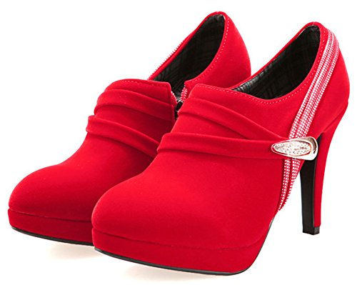 Stiletto Platform Dressy Heels Rhinestones Red IDIFU Zip High Side Boots Up Womens Short 8znBxwO