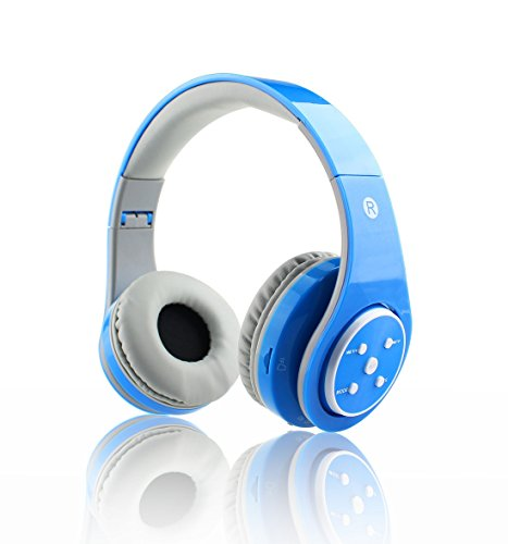 Mokata Kids Headphone Bluetooth Wireless Over Ear Foldable Headset with AUX 3.5mm Jack Cord SD Card Slot, Built-in Mic Microphone for Boys Girls Cell Phones TV PC Game Equipment B06 Blue