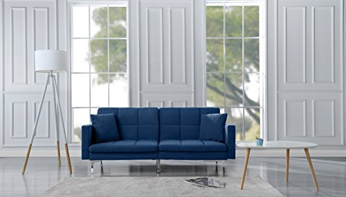 Sofa Futon Microfiber Sleeper (Sofamania Modern Plush Tufted Brush Microfiber Fabric Splitback Living Room Sleeper Futon (Blue))