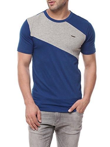 GRITSTONES Indigo/Grey Melange Half Sleeve Round Neck T Shirt GSRNCKHS1257INDGM