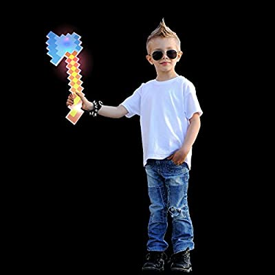 Fun Central BC971 18 Inch 1ct LED Pixel Axe, Fun Toys for Kids, Pixelated Light Up Toys, Glowing Battle Axe Toy, Minecraft Axe, Digital and Cyber Gaming Themed Party, Minecraft Party, Cosplay - Blue from Fun Central