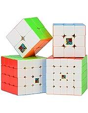 ROXENDA Cubo de Velocidad Bundle Moyu 2x2 3x3 4x4 5x5 Stickerless Brillante Cubo Magico Liso Puzzles Cube Set con Embalaje de Regalo (Cubo de Velocidad Bundle)