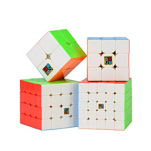 Roxenda Speed Cube Set, Magic Cube Set of 2x2x2 3x3x3 4x4x4 5x5x5 Stickerless Speed Puzzle Cube with Gift Box, IQ Games Puzzles for Kids