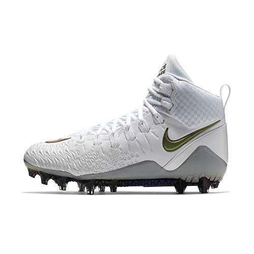 NIKE Men's Force Savage Pro Football Cleat (9 D(M) US, White/Wolf (Football Leather Jacket)