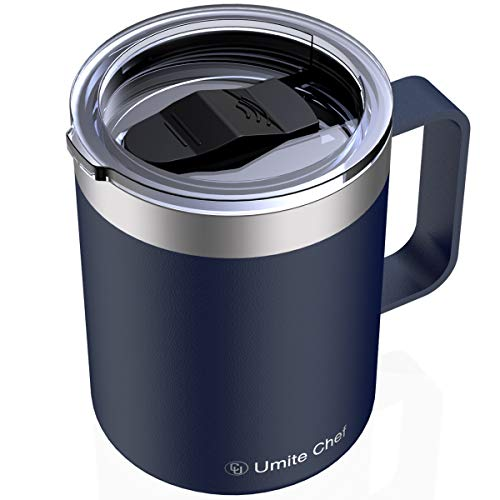 Umite Chef Stainless Steel Insulated Coffee Mug Tumbler with Handle, 12 oz Double Wall Vacuum Tumbler Cup with Lid Insulated Camping Tea Flask for Hot & Cold Drinks(Navy)