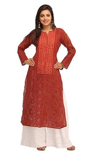 ADA Fine Chikan Ethnic Straight Cotton Kurta Kurti with Elegant Embroidered Motifs A119846