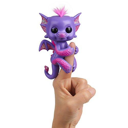Fingerlings - Glitter Dragon - Kaylin (Purple with Pink) - Interactive Baby Collectible Pet - By WowWee ()