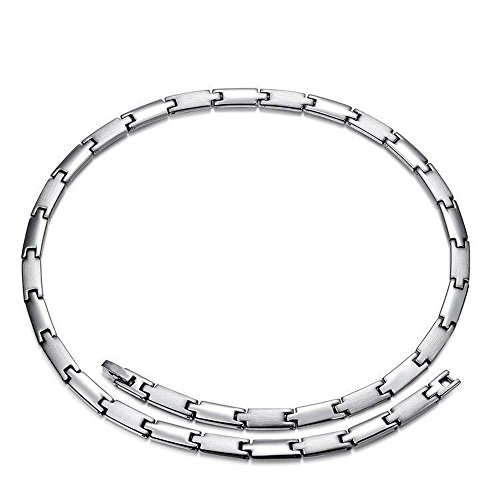 (Titanium Steel Magnetic Therapy Chain Germanium Necklace for Neck Arthritis Headaches)