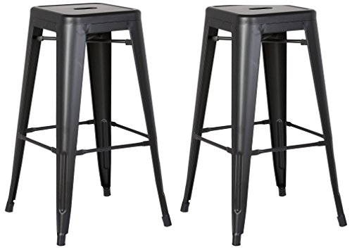 Backless Stool Black (AC Pacific Modern Backless Light Weight Industrial Metal Barstool 4 Leg Design, 24