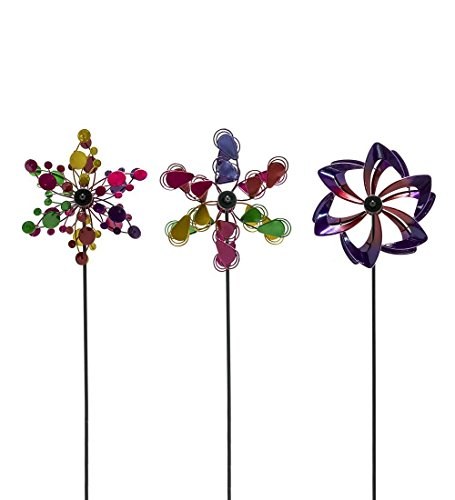 Plow & Hearth 56745-MLT Set of 3 Metal Pinwheel Decorative Garden Stakes