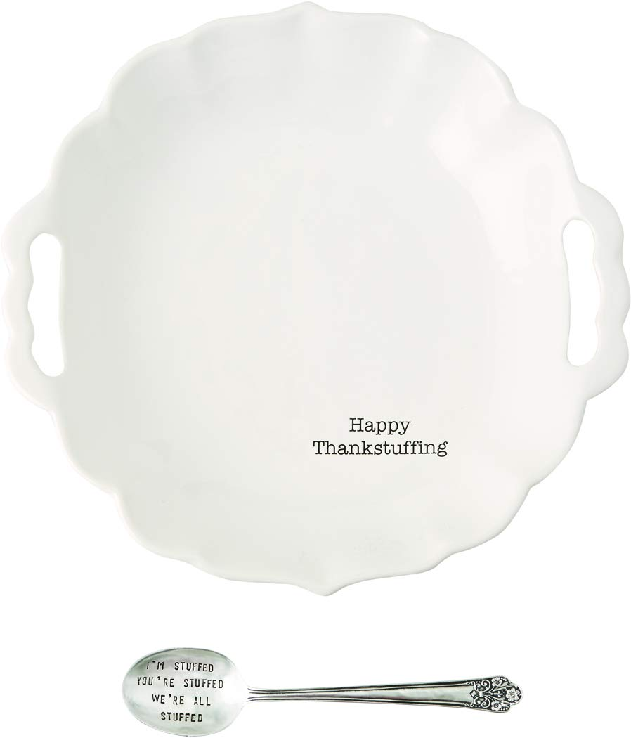 Mud Pie 4601076 Stuffing Serving Bowl Set, White