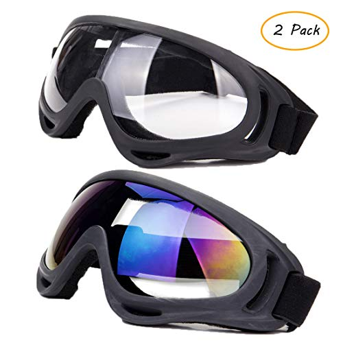- FOCUSSEXY Ski Goggles Snowboard Bike Motocross Glasses,with UV 400 Protection,Anti-Fog,Wind Resistance Goggles for Men Women & Youth,2 Pack