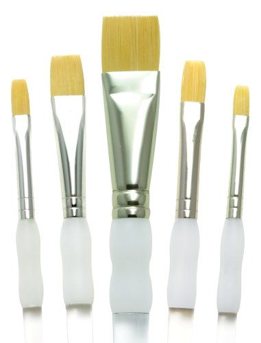 Brush Royal Grip Soft (Royal Brush Soft Grip Bottom Flat Golden Taklon Fiber Paint Brush Set, Assorted Size, Set of 5)